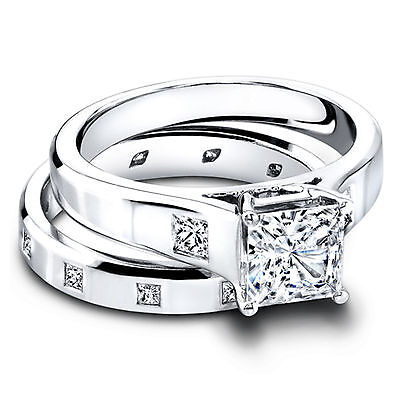 Other Rings Princess Cut 1.30 Ct Diamond Hallmarked 14k White Gold Engagement Rings Size M J Fine Rings