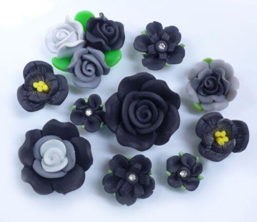 10 pcs Mixed Black Clay Flowers Cute Flat Back Resin Decoden Cabochons