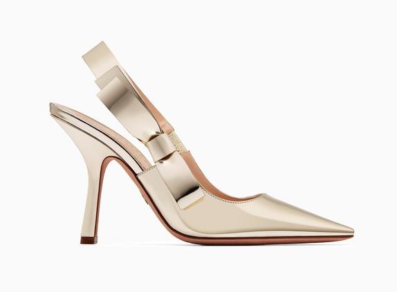 NIB Dior J'adior 10cm Gold D Patent Leder Slingback Sweet D Gold Sandale Heel Pump 40 56ebbd