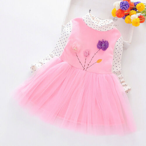 Toddler Child Kids Baby Girl Winter Floral Print Princess Party Dress Clothes