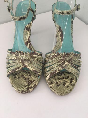 Via Braun Spiga Heels 7.5 Slingback Strappy Grün Braun Via Snakeskin Leder Made  108220