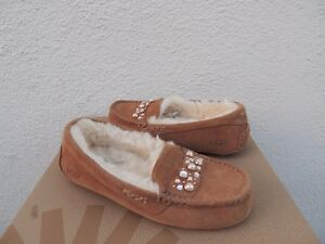 12bccbb73d0a Image is loading UGG-ANSLEY-BRILLIANT-CRYSTAL-SHEEPWOOL-MOCCASIN-SLIPPERS -US-