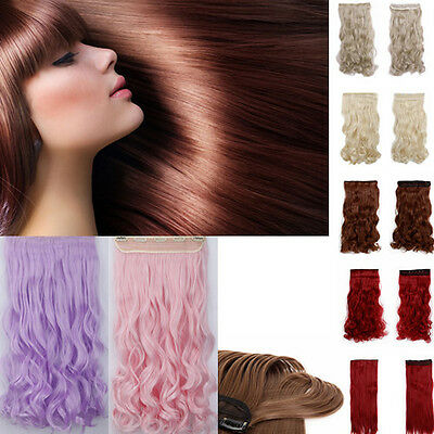 cheap Half head wavy/curl/straight Pink/Purple/blonde/red clip in hair extension
