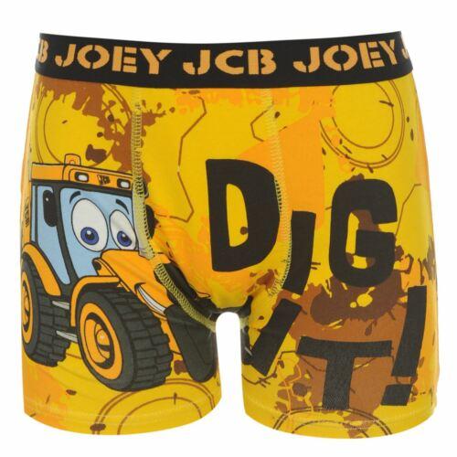 Character Kids Boys JCB Single Boxer Infants Underwear Print Elasticated Waist