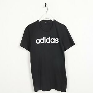 Vintage-ADIDAS-Big-Spell-Out-Logo-T-Shirt-Tee-Faded-Black-Small-S