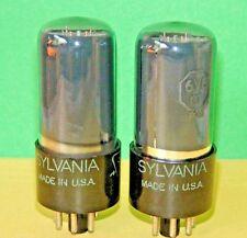 Matched Pair Smoked Sylvania 6V6GT Vacuum Tubes Super Strong Balanced 5000/4885