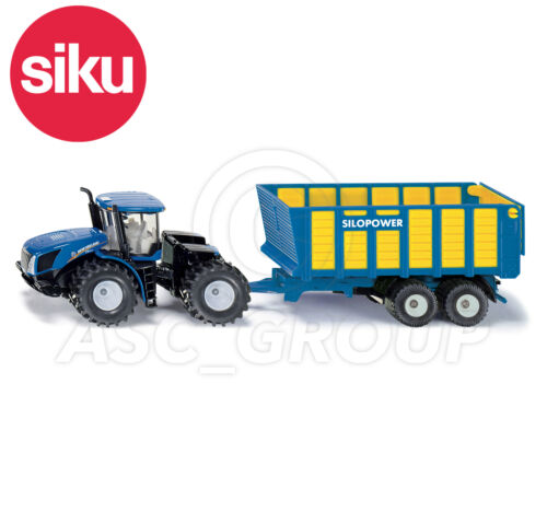 SIKU NO.1947 1:50 Scale NEW HOLLAND TRACTOR WITH SILAGE TRAILER Dicast Model Toy