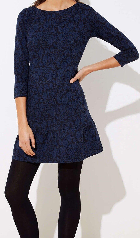 Ann Taylor LOFT Floral Jacquard Flounce Dress Größe 10 Petite, 14 NWT schwarz Farbe