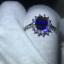 1.60Ct Oval Cut Blue Sapphire Diamond Halo Engagement Ring 14K White Gold Finish