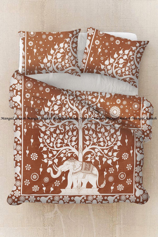 Indian elephant mandala doona duvet cover cotton bedding quilt cover queen size