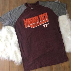 VIRGINIA TECH Hokies Men s LARGE Maroon Gray Short Sleeve T-shirt ... 53ac5ab47