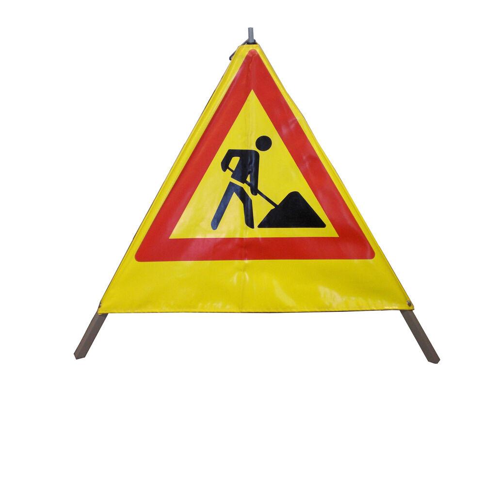 s l1600 - NESTLE Pirámide de Advertencia 70cm, Amarillo Reflectante, 200 Rótulo a Elección