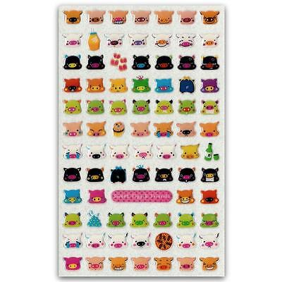 ✰ CUTE COLORFUL PIG GEL STICKERS Animal Face Epoxy Sticker Sheet Craft Scrapbook