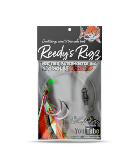 4x Snapper Flasher Rigs Tied On 80lb Leader Paternoster ULTRA Reedy/'s Rigz