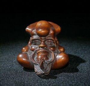Collect Old Boxwood Japanese Netsuke Bodhidharma head Statue unique figurines