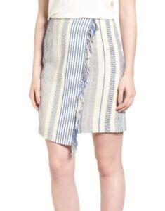 52d6f785c1ed3 Halogen Women s Fringe Faux Wrap Pencil Skirt Ivory Blue Vertical ...