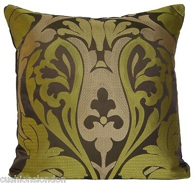 Green Brown Cushion Cover Silk Traditional Woven Osborne & Little Fabric