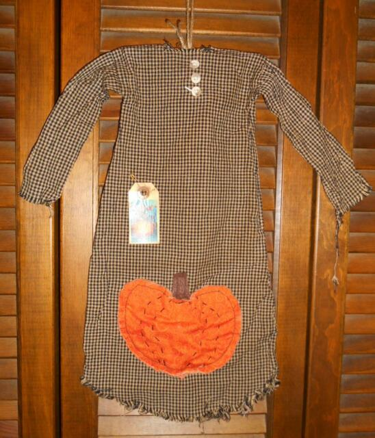Grungy Primitive Decor AUTUMN PUMPKIN NIGHTSHIRT, Fall,Folk Art,Country,Grungy