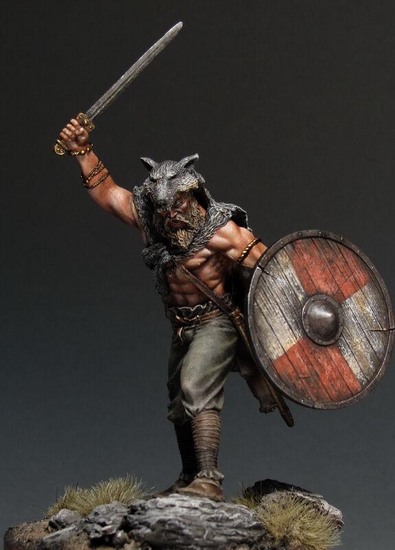 Tin soldat, museum, Viking i Berserk, Erövrar, Earl, Nord, Skandinavien, 75 mm