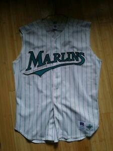 the best attitude c1512 6286e Details about Florida Marlins sleeveless striped jersey Majestic 48  stitched Retro Miami