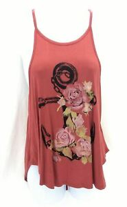 Hippie-Chic-Womens-Rose-Colored-Tank-Top-with-Anchor-and-Floral-Graphics-Size-L