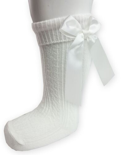 Baby Girls Infants Ribbed Knee High Satin Bow Spanish /& Romany Socks NB-6Yrs S41
