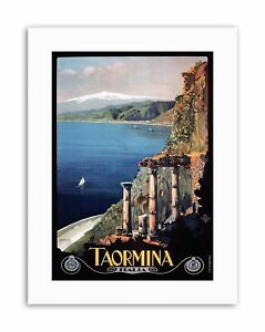 TAORMINA-SICILY-ETNA-GREEK-THEATRE-ITALY-Picture-Travel-Canvas-art-Prints