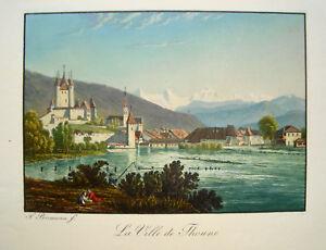 Thun-Thoune-Thuner-See-Schweiz-altkolorierte-echte-alte-Aquatinta-1840-Birmann