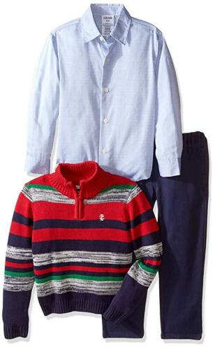 IZOD Infant Baby Boy/'s Striped Sweater Set with Woven Shirt /& Pants 3-Piece NEW