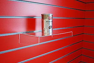 ACYLIC SLATWALL RETAIL DISPLAY SHELF WITH SIDE SUPPORT 400mm X 200mm