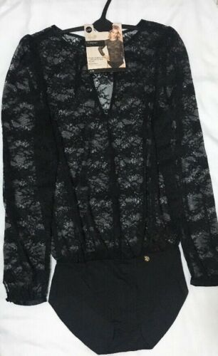 M/&S Rosie per AUTOGRAFO francese Pizzo /& Seta finiture pizzo nero blusa tuta 12