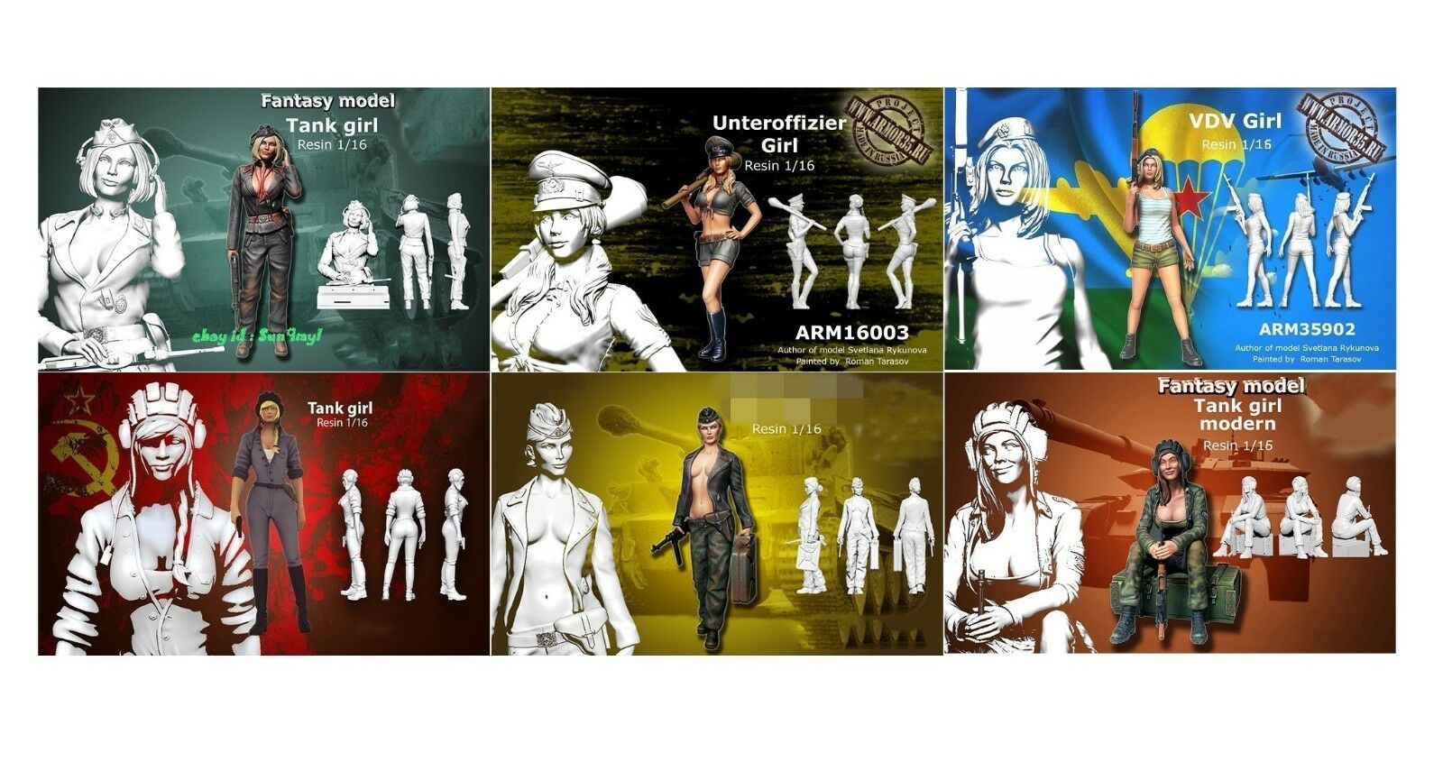 1 16 Scale Resin Figures Figures Figures Models Kits 6 pcs Sexy Girls Soldier Tank Unpainted d22