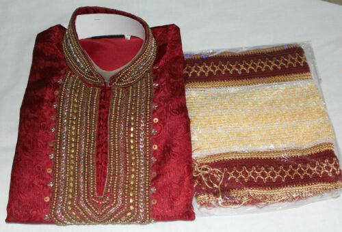 Burgundy  Men Kurta Pajama Set New Indian Wedding Party Wear Sherwani set Shawl