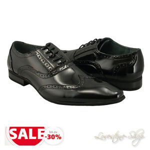Men-039-s-shoes-black-Lacquer-Party-Dance-Wedding-Budapester-Lace-up-13S210