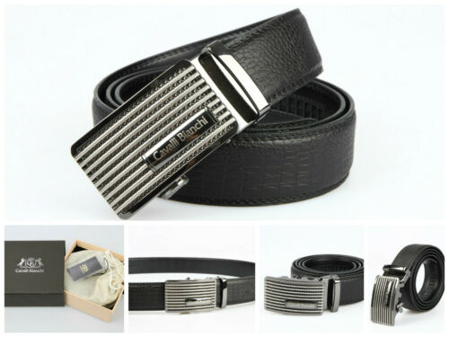 100/% Genuine Leather Cavalli Bianchi Fashion Dress Auto Lock Buckle Mens Belt