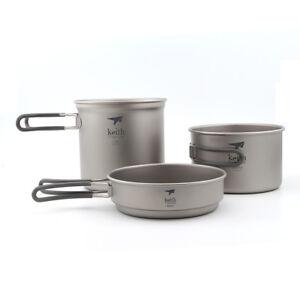 Keith Ti6014 3PCS Titanium Camping Pot 400+800+1200ml Ultralight Cookware Set