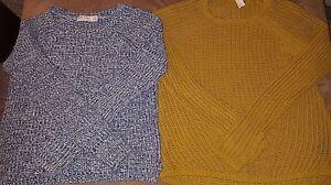 H-amp-M-Women-039-s-Knit-Sweater-Mustard-Yellow-Gold-Long-Sleeve