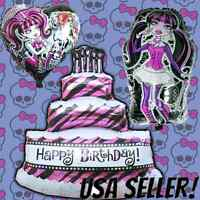 3 Pack Monster High Birthday Balloons Birthday Party Draculaura & Birthday Cake