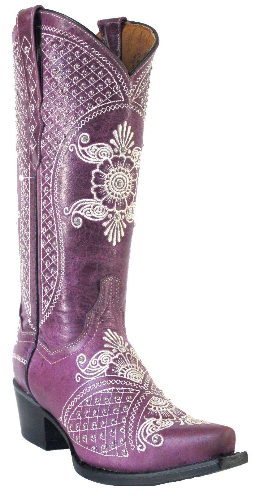 Para mujeres Cuero Envejecido estrás Zarcillos Vaquera Occidental botas botas botas SNIP púrpura  entrega rápida
