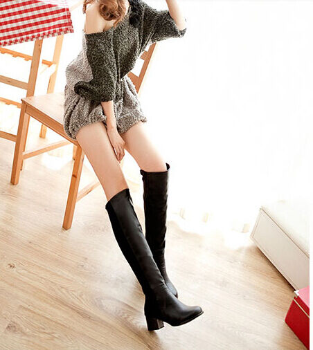 hohe stiefel winter komfortabel frau absatz 4,5 cm schwarz simil leder 8819