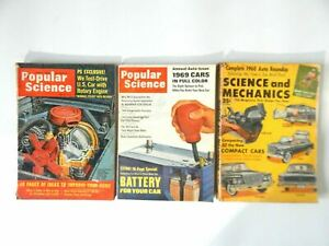 Lot of 3 Popular Science and Science and Mechanics Magazines 1959 - 1968