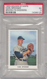 1955-Golden-Stamps-Baseball-Karl-Spooner-Brooklyn-Dodgers-PSA-EX5