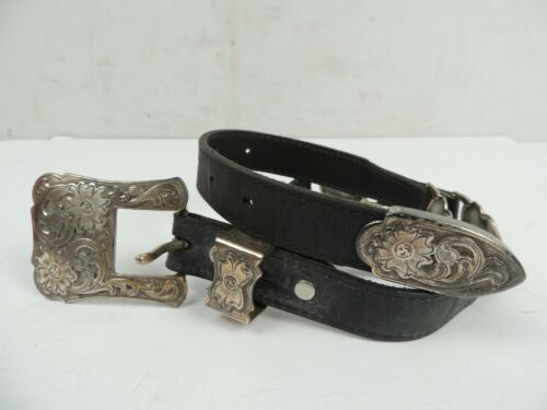 black leather western belt silver and gold hearts