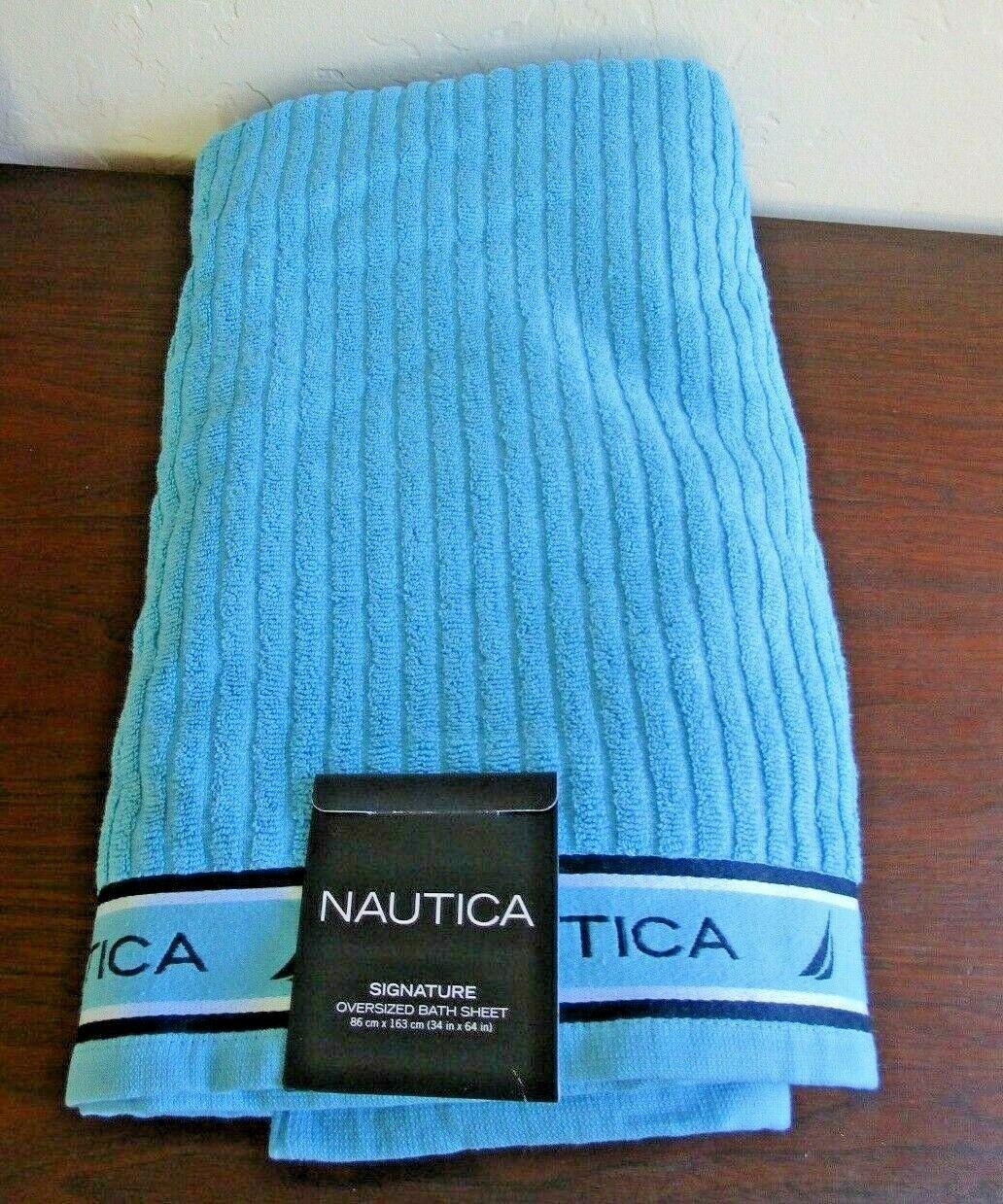 Nautica Signature 100% Cotton Oversized Bath Sheet Towel - Light Blue, 34x64 NEW