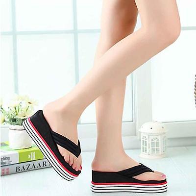 Women Summer High Heels Beach Sandals Wedge Platform Flip Flops Slippers BK39@