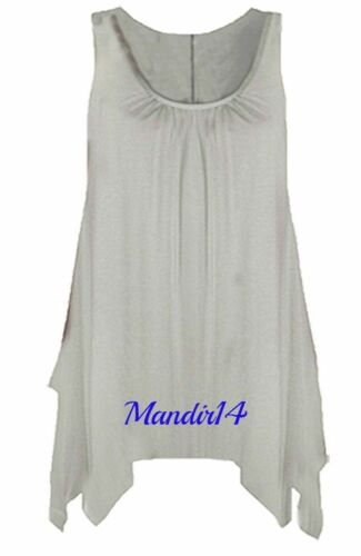 WOMEN LADIES HANKY HEM SLEEVELESS SCOOP NECK JERSEY LONG TUNIC VEST TOP Size8-26
