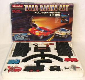Speeder-Road-Racing-Set-Collision-Crossroad-3-In-One-Complete-Not-Working-Rare