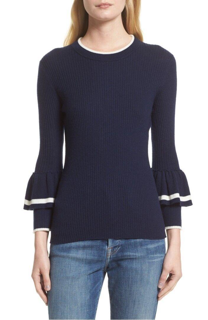 NEW FRAME Ruffle-Cuff Rib-Knit Wool Sweater in Navy - Size S