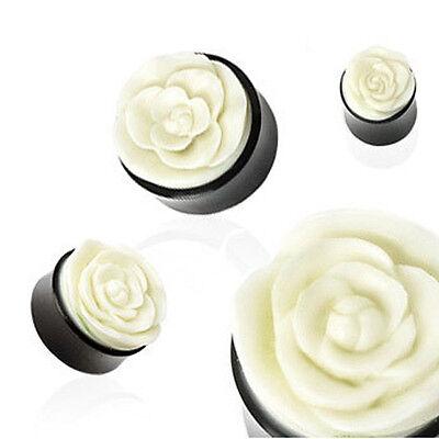 Horn Saddle Ear Plug tunnel Hand Carved Rose flower 8mm - 25mm Bridal Wedding