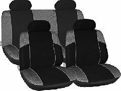 BLACK GREY CAR SEAT COVERS FOR TOYOTA YARIS VW POLO